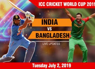Bangladesh vs India - Tuesday July 2, ICC Cricket World Cup 2019 Schedule