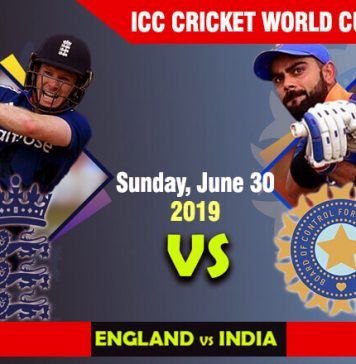 England vs India - Sunday, June 30, ICC Cricket World Cup 2019 Schedule