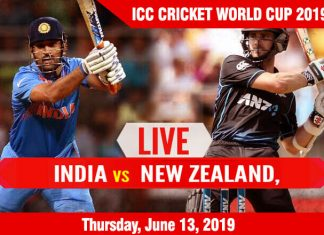 India vs New Zealand - Thursday, June 13, ICC Cricket World Cup 2019 Schedule