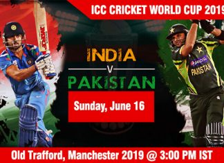 India vs Pakistan - Sunday, June 16, ICC Cricket World Cup 2019 Schedule