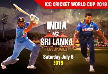 Sri Lanka vs India - Saturday July 6, ICC Cricket World Cup 2019 Schedule
